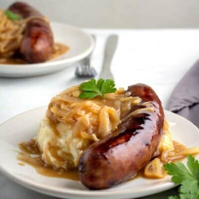 Bangers and Mash on a plate