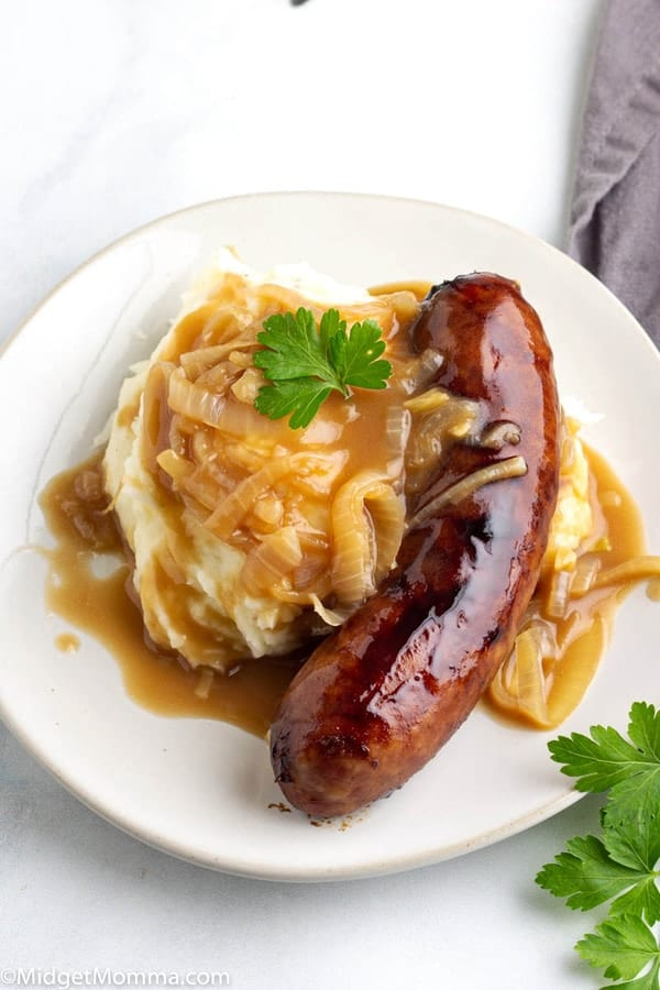 Bangers and Mash with onion gravy recipe