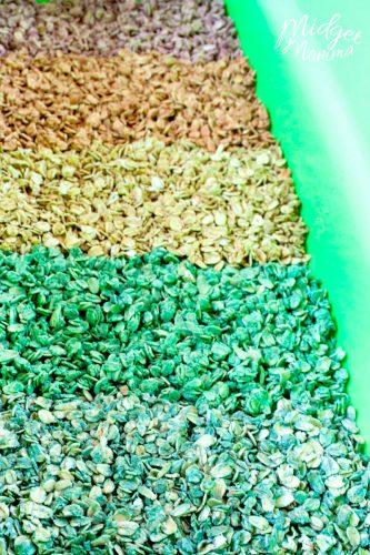 Colored Oats for Sensory bins