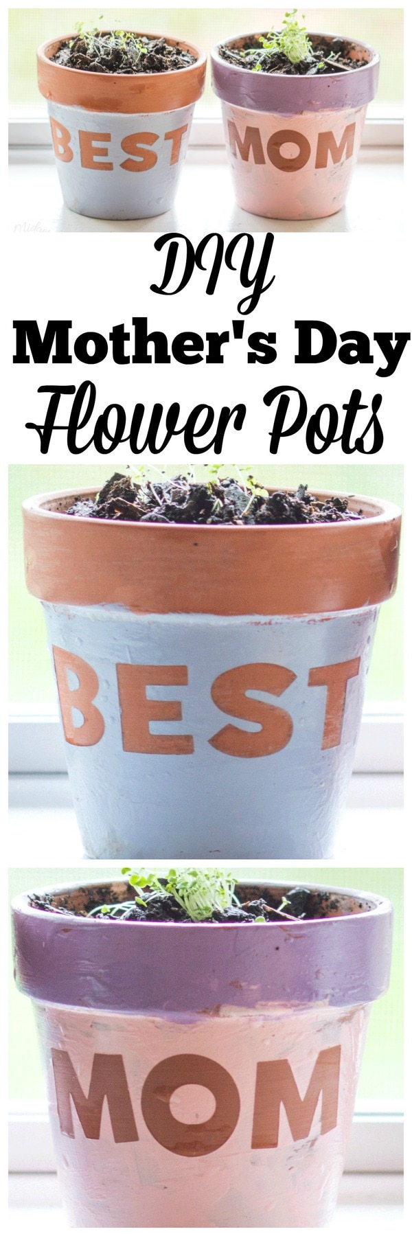 Diy Mother's Day Flower Pots - MidgetMomma - This is a great DIY Mother's Day gift. Easy enough that the uncrafty Dad can totally do this fun Mother's Day DIY git.