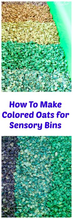 It is very simple to make Colored Oats for preschool sensory bins. Using food coloring you can make dry oats different colors that are perfect for using in sensory bins.