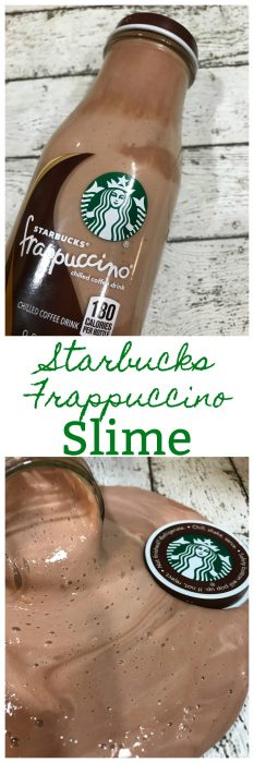Starbucks Frappuccino Slime is a no borax slime recipe that is smooth and runs thru your fingers perfectly. Easy DIY Slime Recipe that looks just like a Starbucks Frappuccino drink! #Slime #EasySlime #DIYSlime #KidsSlime #NoBorax