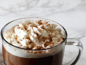 Starbucks pumpkin spice latte Copycat recipe in a glass coffee cup