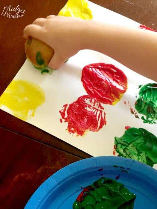 how to paint with apples preschool craft