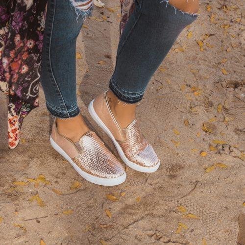 Womens Gold Sequins Glitterleisure Shoes