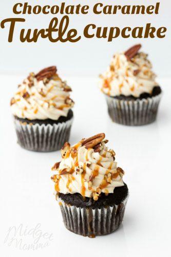 Caramel chocolate turtle cupcake
