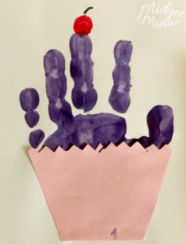 Cupcake Handprint Mother's Day card