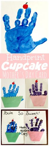 Cupcakes Handprint Mother's Day Card