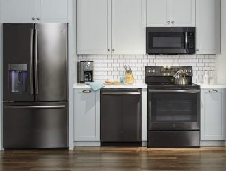 Dreaming of a New Kitchen with GE Black Stainless Steel Appliances!