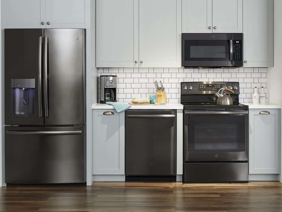 Kitchen White Appliances Dark Cabinets