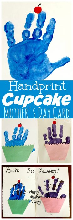 Handprint Cupcake Mother's Day Card