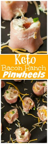 Bacon Ranch Pinwheels are the perfect Keto friendly lunch or snack. Easy to make for meal prepping ahead of time while staying with your Keto diet plan. Using salami, ham or turkey you can change up the flavors of these tasty keto pinwheels. #Keto #lowcarb #bacon #ranch #salami #Ham #turkey #Pinwheel #Ketolunch #ketosnack