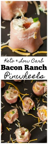 Keto & Low Carb Bacon Ranch Pinwheels are great for lunch or a snack! Find out how to make these quick and easy Keto Friendly lunch and snacks! #Keto #lowCarb #pinwheel