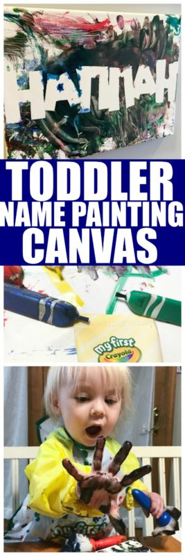 This DIY Name Canvas is so much fun for the littles to make! Really any kid can make a personalized canvas with their name on it, but @Crayola has made it super easy to do with the new toddler friendly craft supplies! #toddler #craft #NameCraft #ToddlerPainting #Canvas
