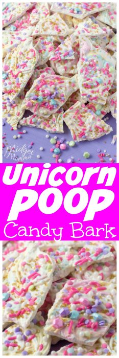 Unicorn Poop Bark Candy is such a fun and easy treat to make. It is the perfect Unicorn treat that everyone will love. Easy to make Unicorn Candy that the kids will love! #Unicorn #UnicornPoop #Poop #Candy #Bark #UnicornCandy