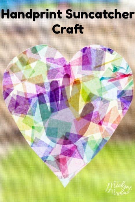 Hold You In My Heart Handprint Suncatcher Craft Midgetmomma