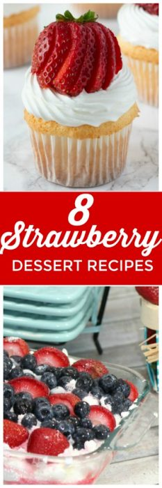 These Strawberry Dessert recipes are perfect for summer. Easy to make strawberry recipes that are perfect for your BBqs and summer desserts! #Strawberry #StrawberryDessert #StrawberryRecipe #StrawberryCupcake #Strawberry #Strawberries