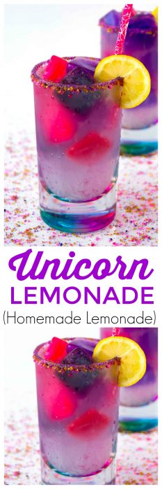 Unicorn lemonade is a fun and tasty color changing drink. Magical just like unicorns but super tasty this unicorn drink will be a hit for everyone. If you are a fan of the Unicorn Lemonade Starbucks drink then you are going to love making this fruity unicorn lemonade drink at home. This easy lemonade recipe is made with homemade lemonade! #Unicorn #Lemonade #HomemadeLemonade #unicorndrink #unicornfood #LemonadeRecipe