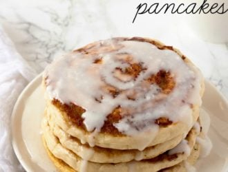 Homemade Cinnamon Roll Pancakes with cream cheese glaze