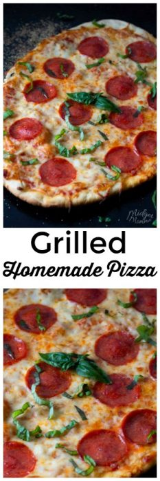 This homemade pepperoni pizza is a family favorite! Made with homemade pizza dough, this makes not only for a tasty dinner but family fun while everyone gets involved making homemade pizza. This pizza is amazing and it is super easy to make grilled pizza. #Pizza #HomemadePizza #pepperoni #HomemadeCrust #PizzaSauce #PizzaCrust #pepperoniPizza #GrilledPizza #Grilled
