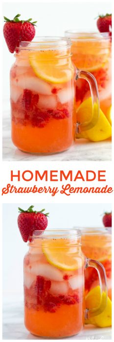 Easy Homemade Strawberry Lemonade. This homemade strawberry lemonade is the perfect refreshing summer drink. #Strawberry #Lemon #Lemonade #StrawberryLemonade #StrawberryDrink #SummerDrink #StrawberryRecipe #LemonadeRecipe