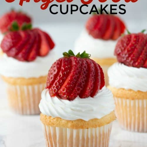 This Angel food cake cupcake recipe is the perfect summer dessert. Homemade angel food cupcakes are light, fluffy and perfectly sweet! Top these homemade cupcakes made with homemade angel food cake with a tasty cool whip frosting and fresh berries. #Strawberry #Berries #Cupcake #AngelFood #AngelFoodCake #AngelFoodCupcake