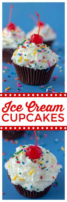 Making ice cream cupcakes is easy to do when you want a fun ice cream treat. Simple step by step directions for this fun summer dessert that everyone will love. You can use your favorite ice cream flavors to make these tasty ice cream cupcakes. Even better these are a no bake cupcake which is perfect for the summertime when it is hot! #Icecream #SummerDessert #IceCreamDessert #cupcake #nobakecupcake #nobake #IceCreamRecipe #CupcakeRecipe