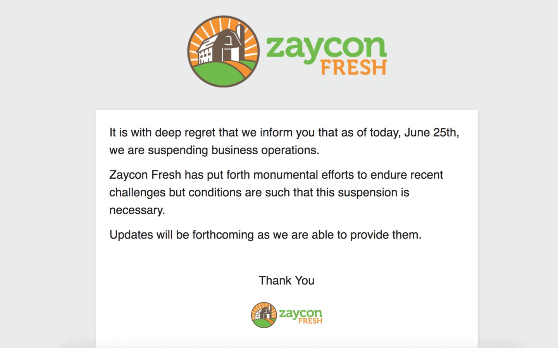Zaycon fresh closing