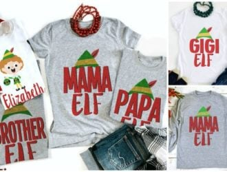 These would be so much fun for family pictures! Matching Family Elf Christmas T-shirts