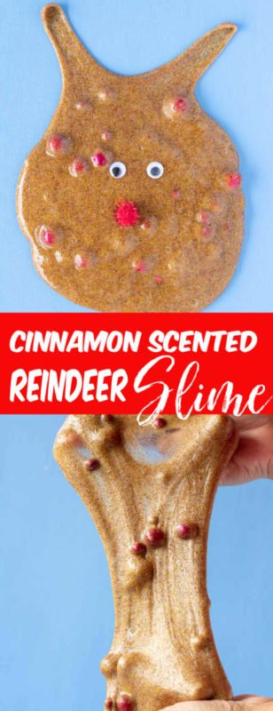 This Cinnamon Scented Reindeer Slime is so much fun to make! A clear glue slime recipe that uses cinnamon to color the slime and make it smell amazing. Add in some fun red beads and red puffs and googley eyes to make this fun christmas slime look like rudolf the red nose reindeer!