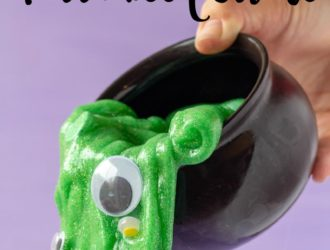 This Halloween Slime is so much fun for kids! Easy to make slime recipe that is the perfect kid friendly slime recipe! The bright green slime color is perfect for color for making witch brew halloween slime! #Halloween #Slime #SlimeRecipe #SlimeMaking #HalloweenSlime #EasySlime #HalloweenCrafts