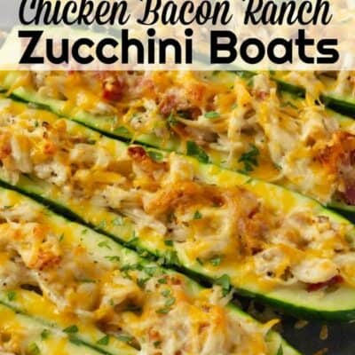 Chicken Bacon Ranch Zucchini boats are an amazing stuffed zucchini boat recipe. Easy to make baked zucchini recipe that has amazing flavors of chicken, bacon and ranch and then topped with cheese! #chicken #Bacon #Ranch #Cheese #zucchini #keto #lowCarb #BakedZucchini #Easy Recipe #ZucchiniBoats