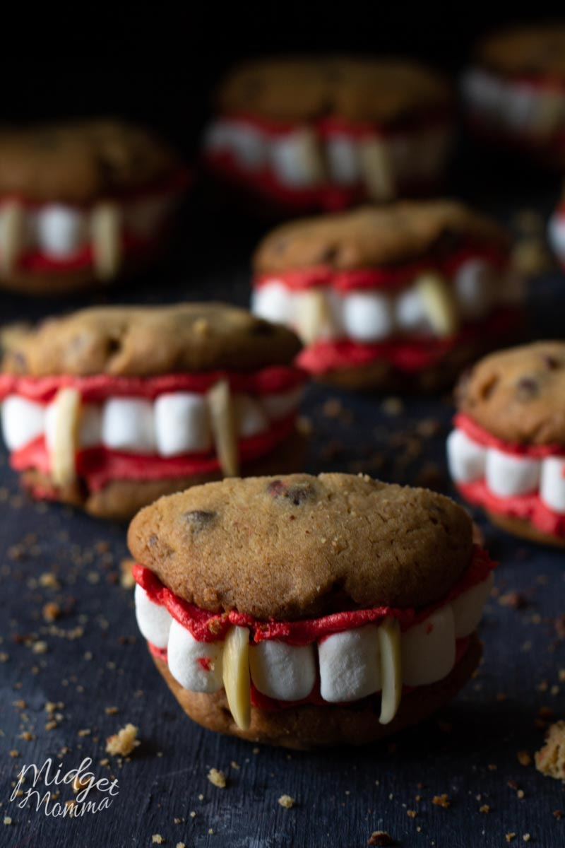 vampire cookies (made with homemade chocolate chip cookies) •