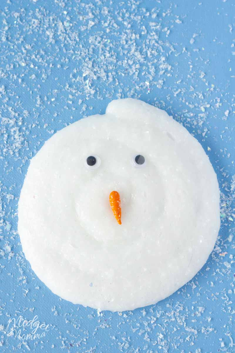 Slime Swirl made with snow slime to make a snowman