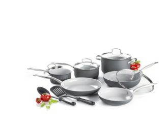 Score the set of GreenLife Ceramic Non-Stick 12 Piece Cookware Set on ROLLBACK 50%!