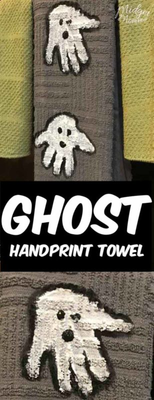 These handprint ghost towels are the perfect Halloween Decoration for your kitchen. Using handtowels, paint and your kids hands you can make this adorable handprint Halloween craft with the kids that will be a keepsake forever.