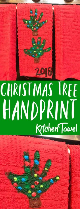 You are going to love this handprint Christmas Tree towel craft. Using your kids hands, kitchen towels and paint you can make this awesome Christmas tree craft. This handprint christmas craft is perfect for decorating and for gift giving too!