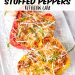 Lasagna stuffed peppers are the perfect low carb stuffed peppers recipe. Easy to make for dinner and perfect for anyone who is on a low carb or keto diet but also perfect for anyone who loves lasagna!
