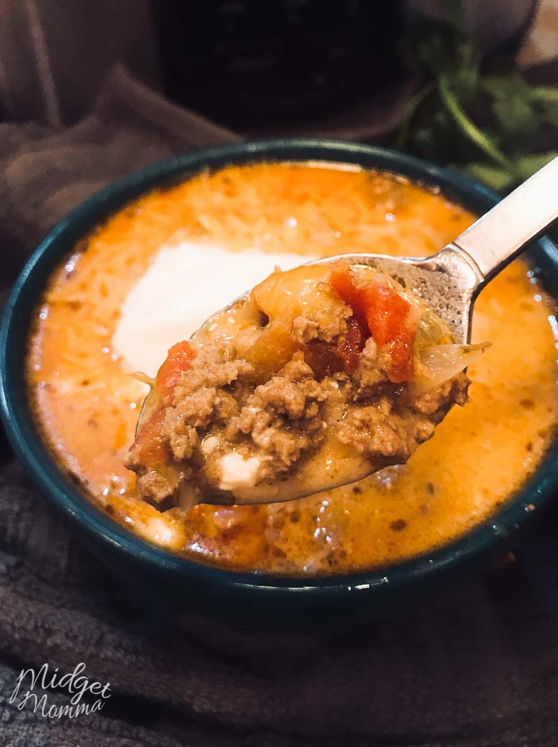 Low Carb Taco Soup in a blue bowl