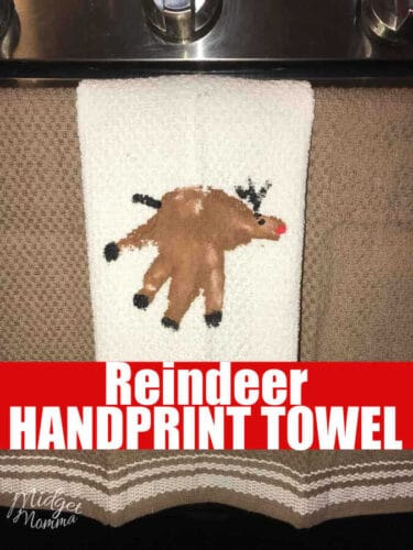 This Reindeer Handprint towel is a fun and easy christmas handprint craft to make with the kids. Easy to make with some paint and a teatowel. These Reindeer Handprint towel make great gifts and great holiday decorations!