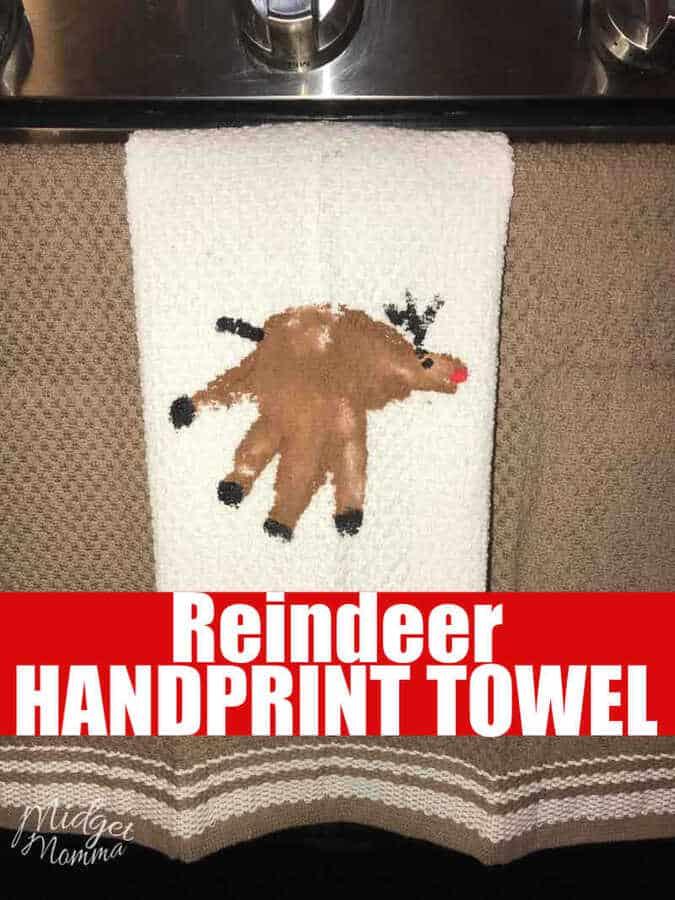 Reindeer Handprint Towel Kids Handprint Christmas Craft
