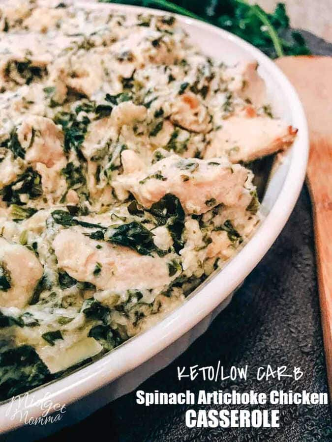 Spinach Artichoke Chicken Casserole is the perfect chicken, spinach and artichoke recipe. If you are a fan of spinach stuffed chicken breast but are running short on time, then this chicken and spinach casserole is perfect! My whole family loves it, and tells me it reminds them of our favorite Spinach Artichoke dip!