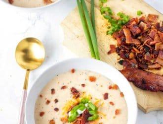 Crock-pot Bacon Cheddar Cauliflower Soup (Low Carb)