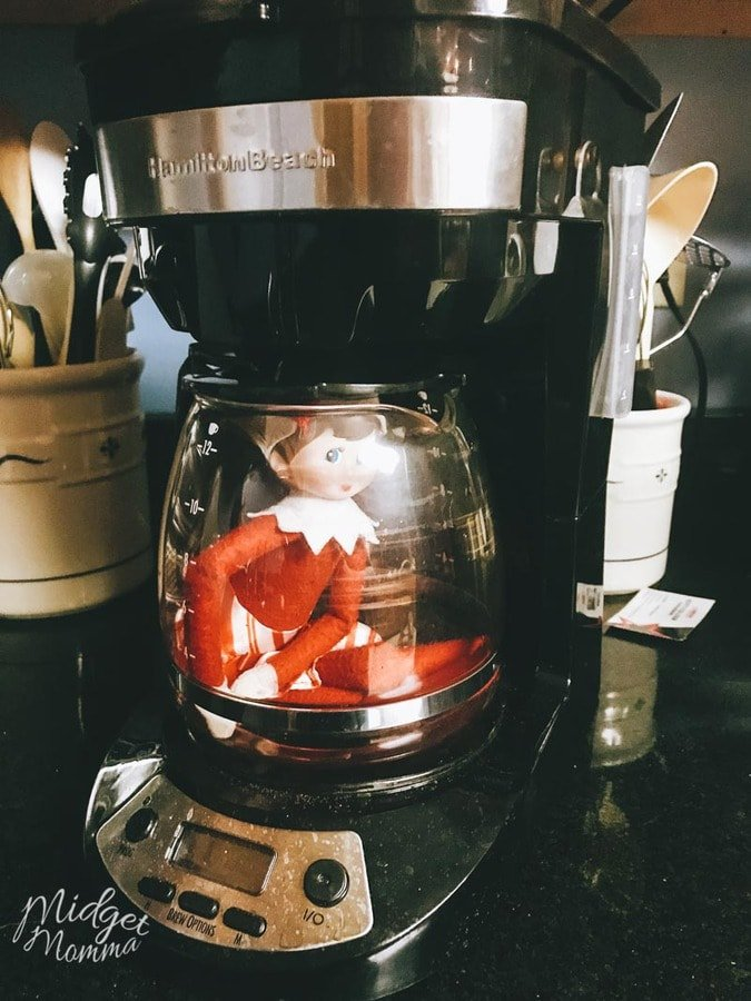 Elf on the Shelf Ideas - Elf on the Shelf hides in the coffee pot