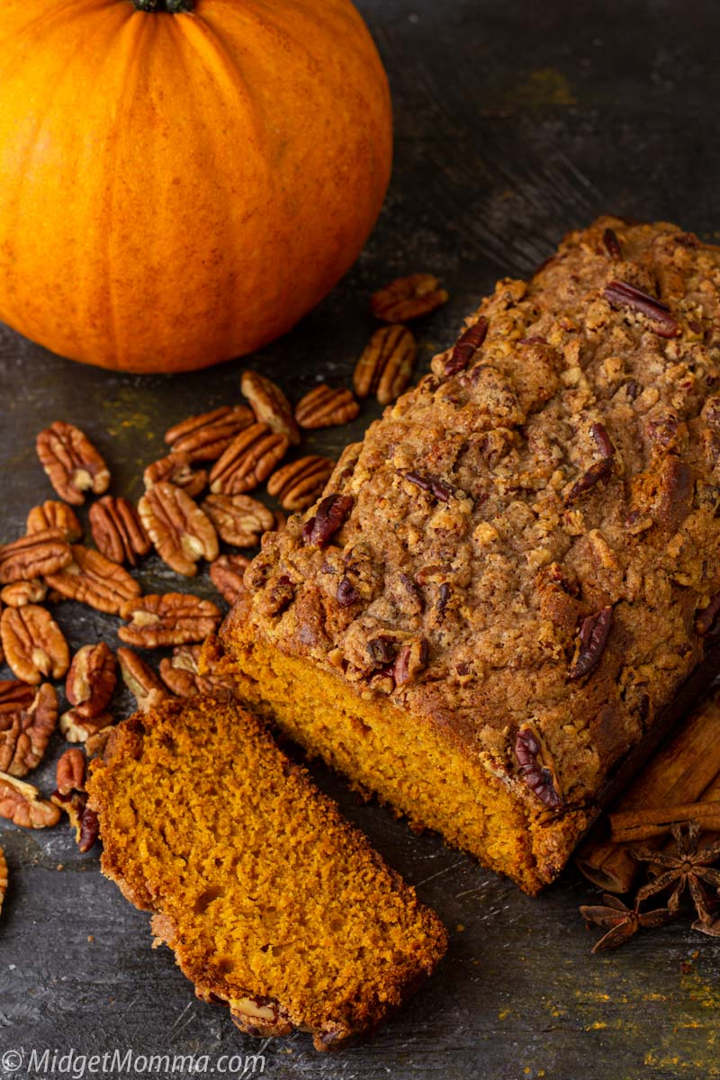 Moist pumpkin bread with strusel maple topping