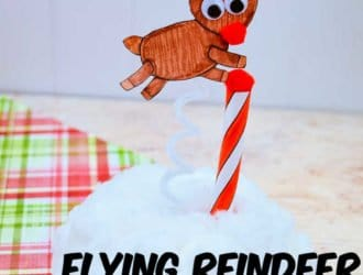 This Paper Flying Reindeer Craft is so much fun to make with the kids! Let them color and then build a Flying Reindeer!