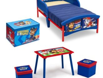 Call Santa! Hot Rollback! PAW Patrol 4-Piece Toddler Bed Bedroom Set with BONUS Fabric Toy Box