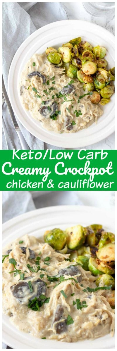 This Crock-pot Creamy Italian Chicken and Cauliflower is a quick prep, easy keto and low carb crockpot recipe that my whole family loves. #keto #lowCarb #chicken #Dinner #Recipe