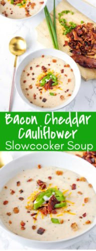 This crockpot Bacon Cheddar Cauliflower Soup is an amazing cauliflower soup, made in the crockpot. Simple and fresh ingredients make this Bacon Cheddar Cauliflower Soup one of my favorites!