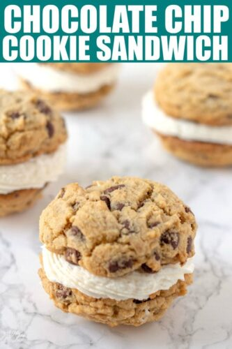 Chocolate Chip Cookies filled with fluffy frosting